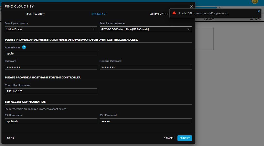 Adopting cloud key ssh Username or password invalid ! | Ubiquiti