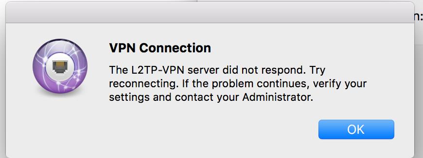 Help with L2TP over IPSEC VPN - server did not respond