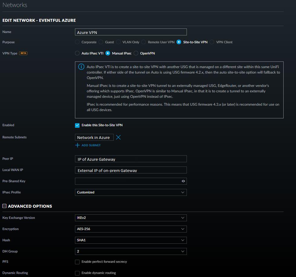 Ubiquiti Secure Gateway Azure VPN | Ubiquiti Community