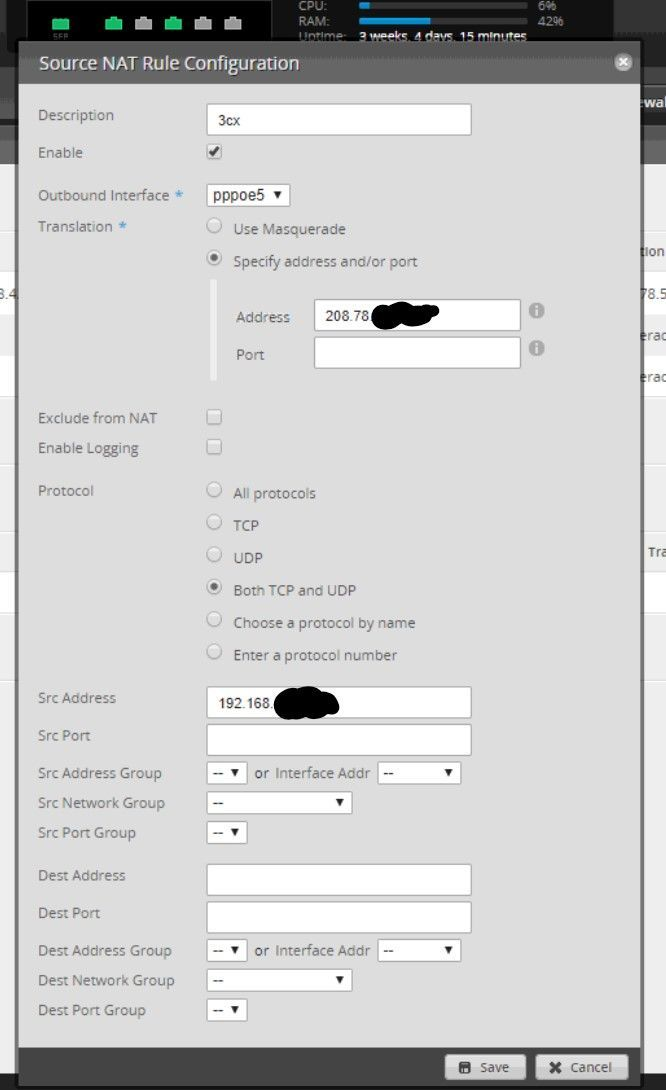 How to configure Full Cone Nat on Edge Router X load balanced for