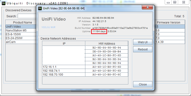 Funny uptime in Discovery data from UniFi Video 3 1 5