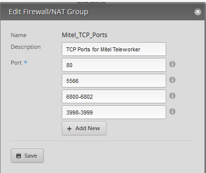 ER-Lite forward group of ports from 1 of our static IPs to