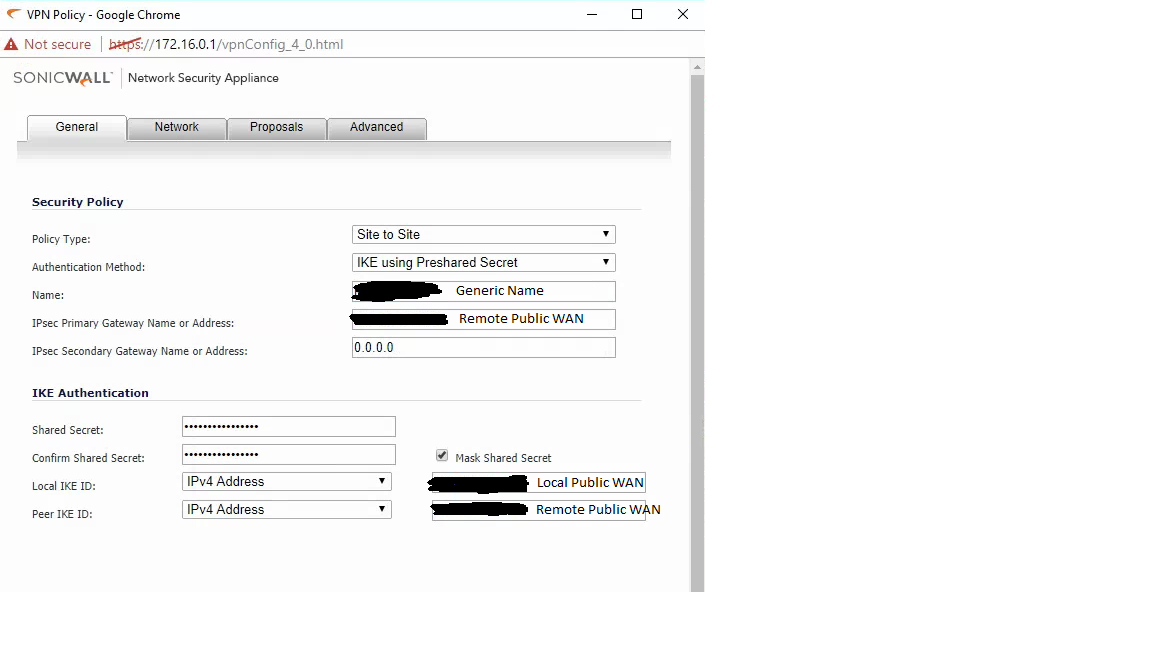 EdgeMAX - Configure the EdgeRouter to work with SonicWall VPN