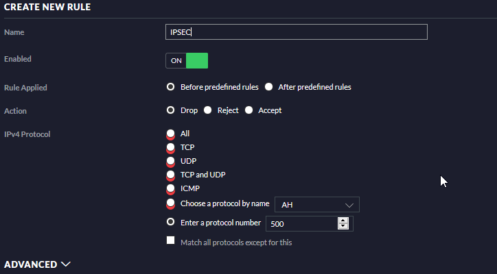 Unifi firewall rule settings