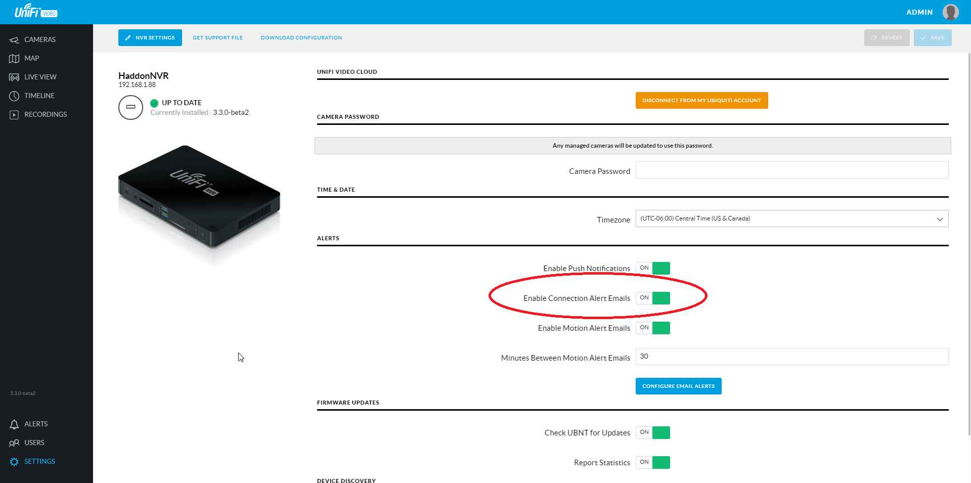 NVR connected/disconnected email notifications | Ubiquiti Community