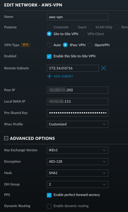 How to configure a VPN between AWS and USG Pro? | Ubiquiti Community