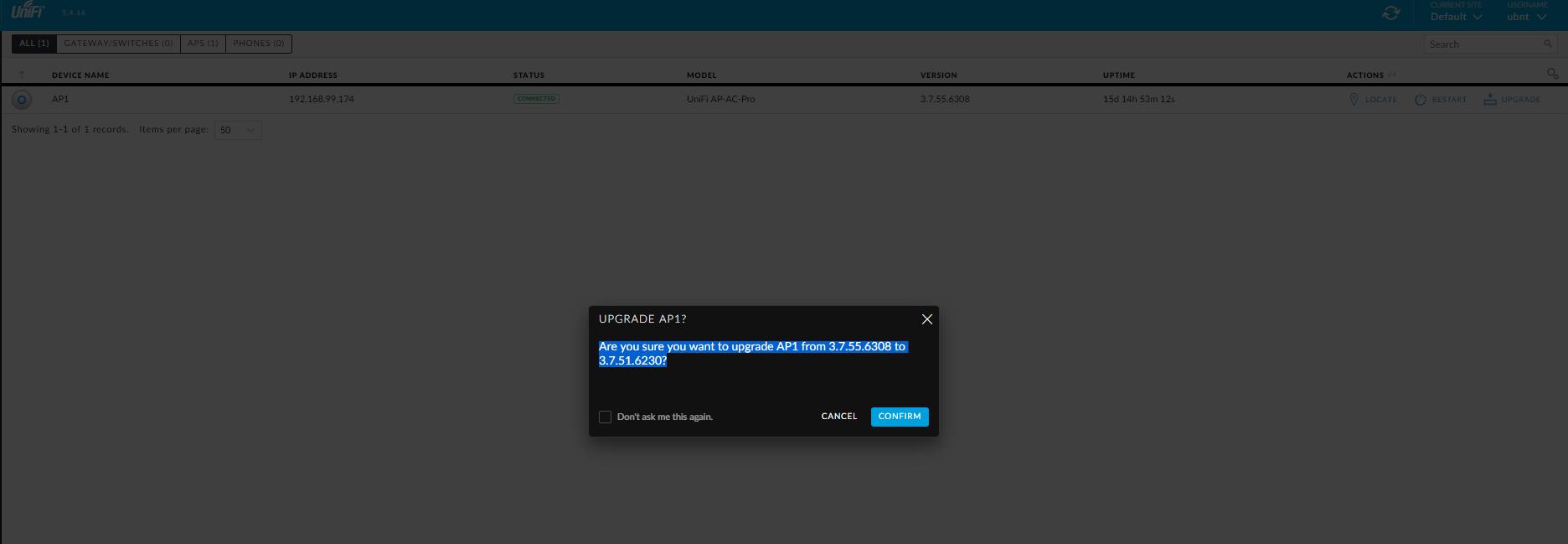 Unifi AC Pro update button want to downgrade??? | Ubiquiti