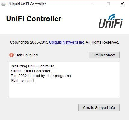 Cannot get UniFi Controller to work - Port 8080 is used by