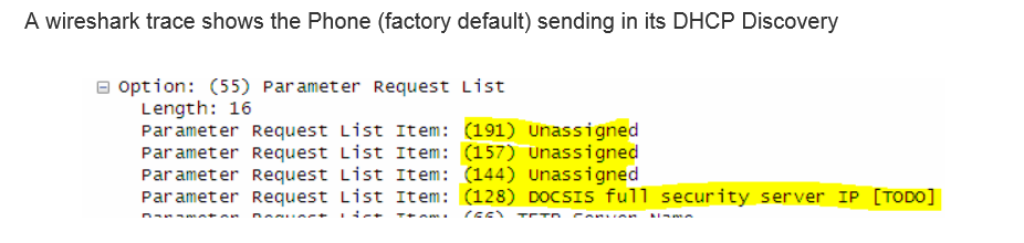 DHCP option 128 and 144 not working on Polycom phones to set VLAN