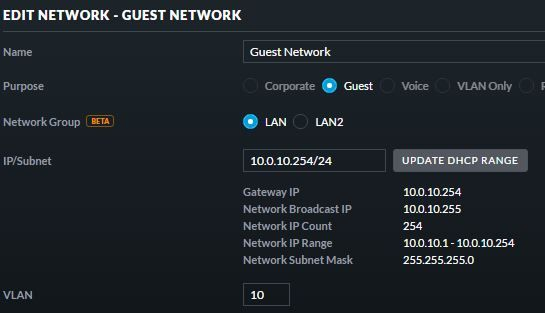 How do I setup a guest VLAN on an all UniFi network