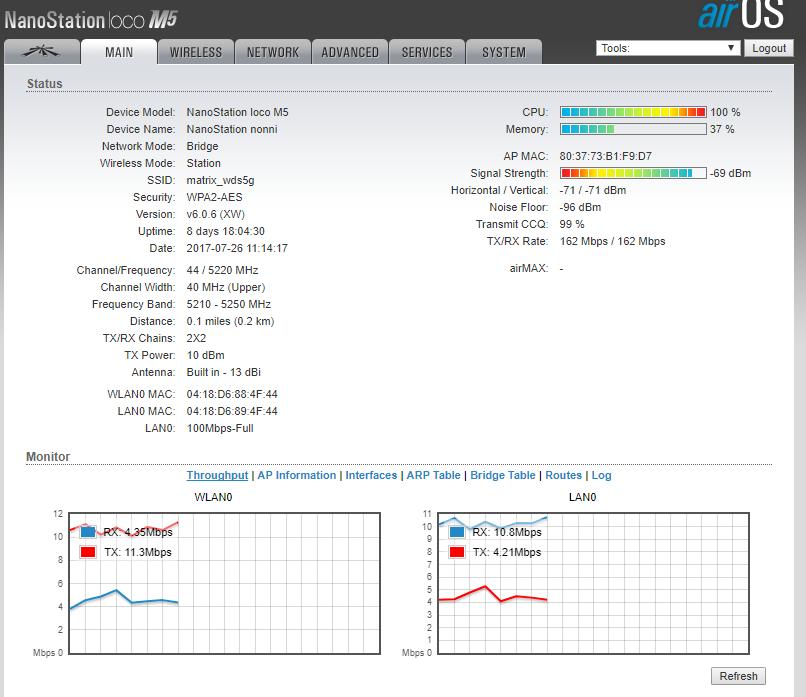 High cpu usage (ksoftirqd) in Nanostation Loco M5 | Ubiquiti