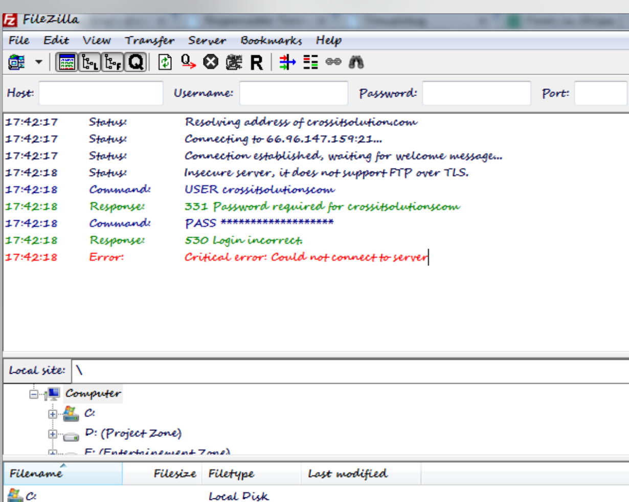 Files not uploading via Filezilla, what could be the reason