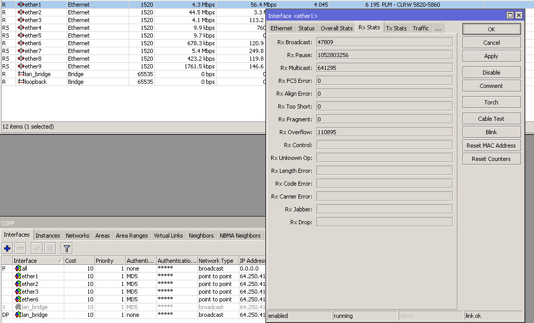 RX pause frames recieved counting up at 100 - multiple thousand per