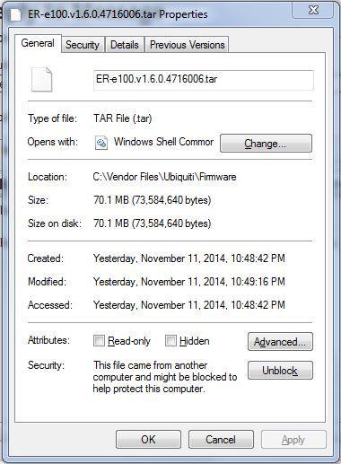 Edgerouter LITE ERLite-3 - Upgrade EdgeOS firmware failed