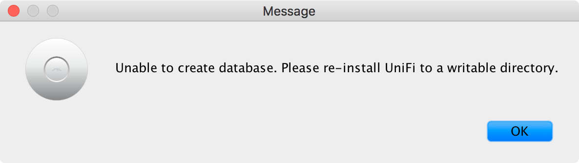 Unable to create database  Please re-install UniFi to a writable