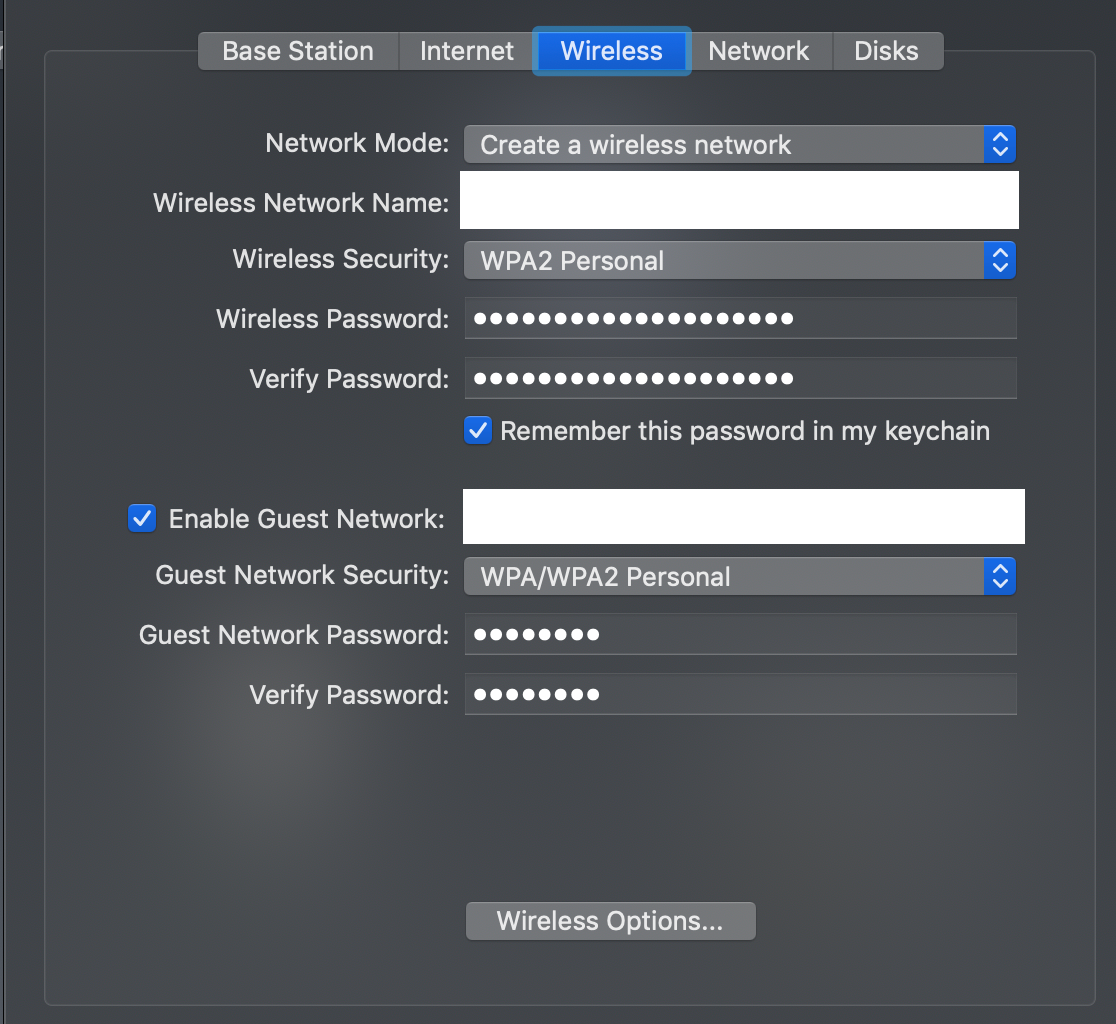 Enabling guest WiFi with Apple AirPort Time Capsule