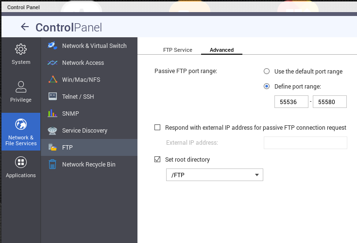 Trying to make a QNAP NAS FTP Server work behind Ubiquity 5