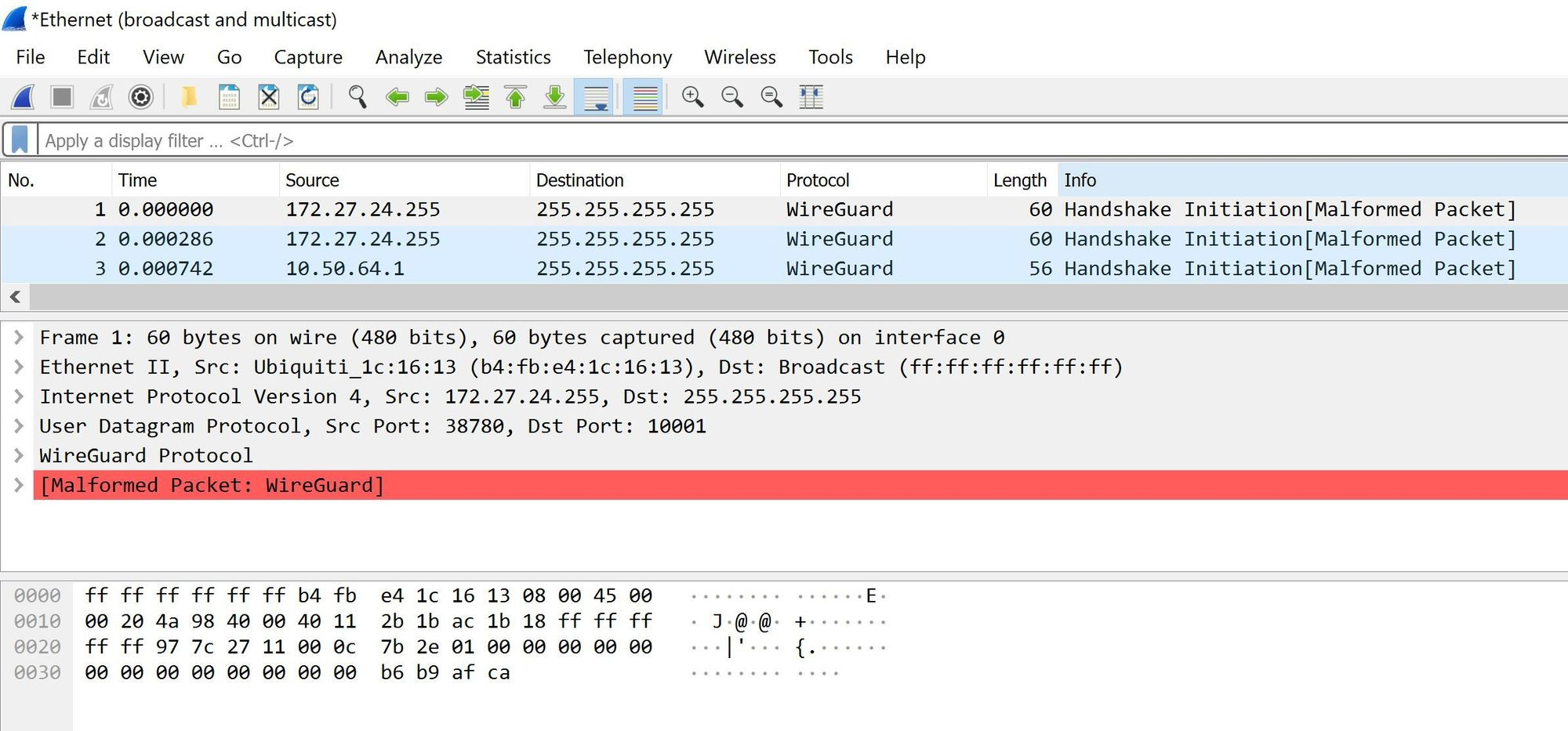Running a broadcast, multicast filter wireshark I see packets from