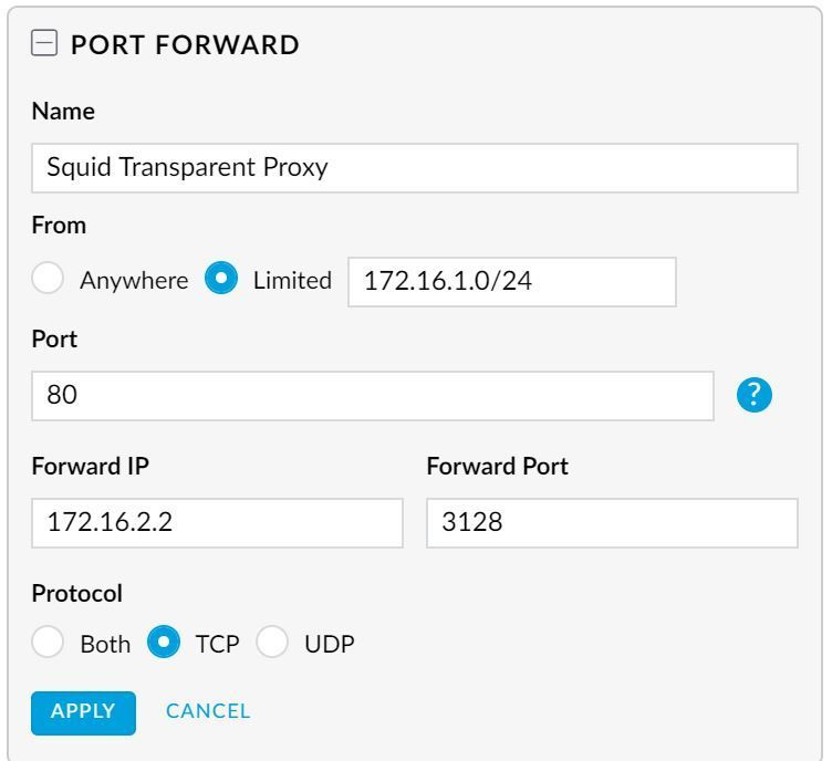 Port forward from LAN for transparent proxy - configuration